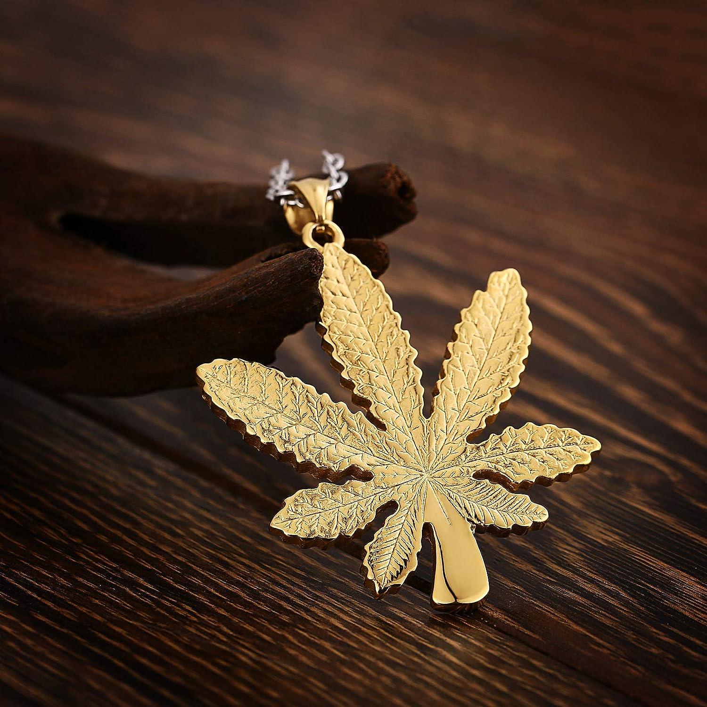 Aokarry Mens Titanium Steel Pendant Necklace Maple Leaf Pendant