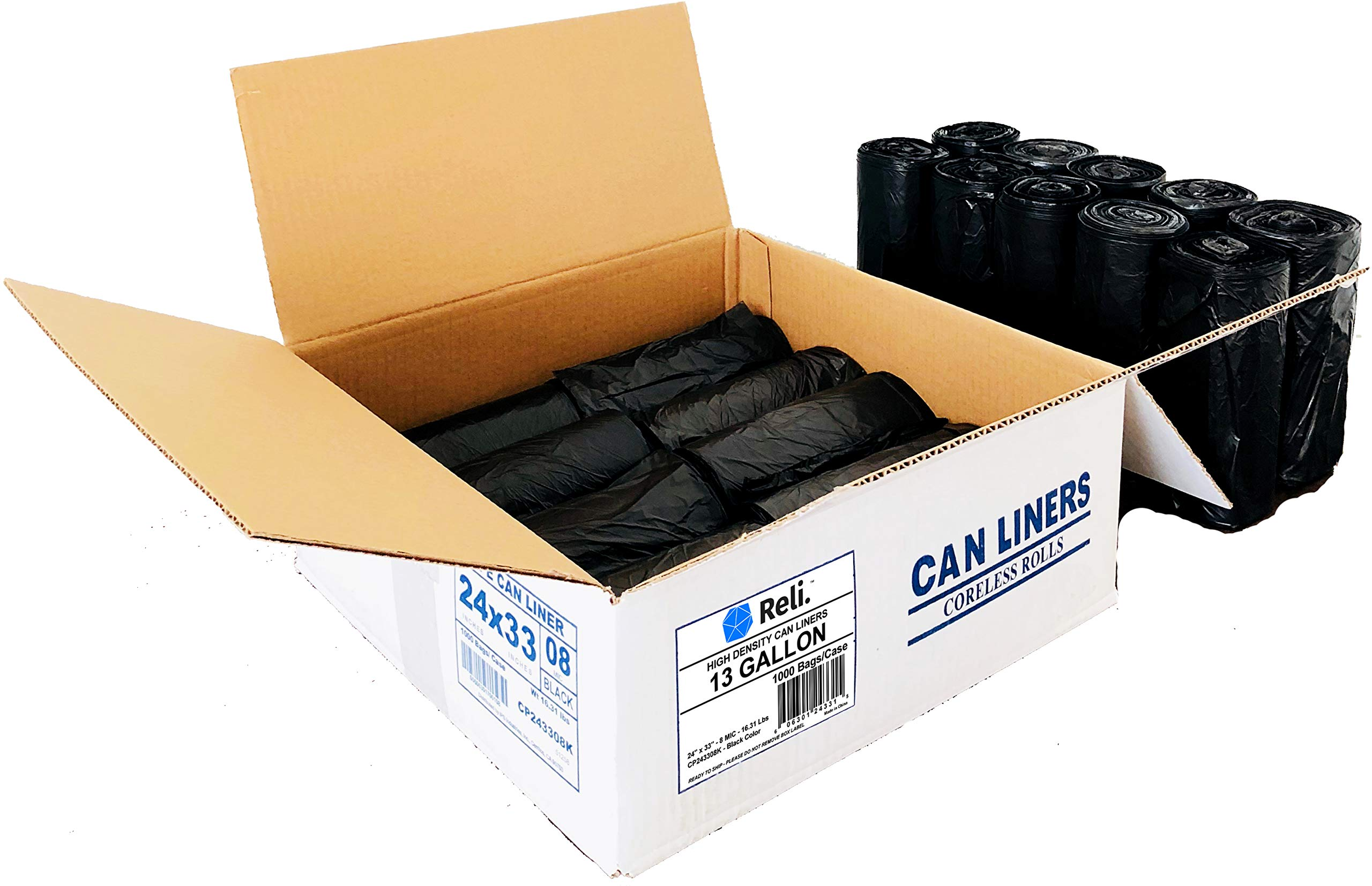 Reli. Trash Bags, 13 Gallon (Wholesale 1000 Count) (Black) - Can Liners, Garbage Bags with 13 Gallon (13 Gal) to 16 Gallon (16 Gal) Capacity by Reli. (Image #2)