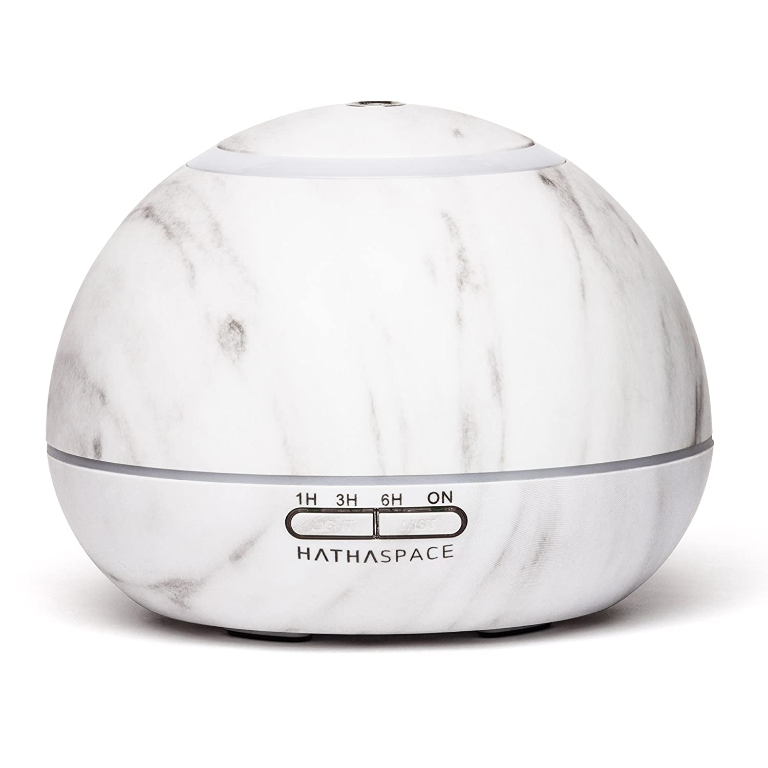 Hathaspace Marble Essential Oil Aroma Diffuser, 350ml Aromatherapy Fragrance Diffuser & Ultrasonic Cool Mist Room Humidifier, 18 Hour Capacity, BPA-Free, 7 Color Optional Ambient LED Light (White)