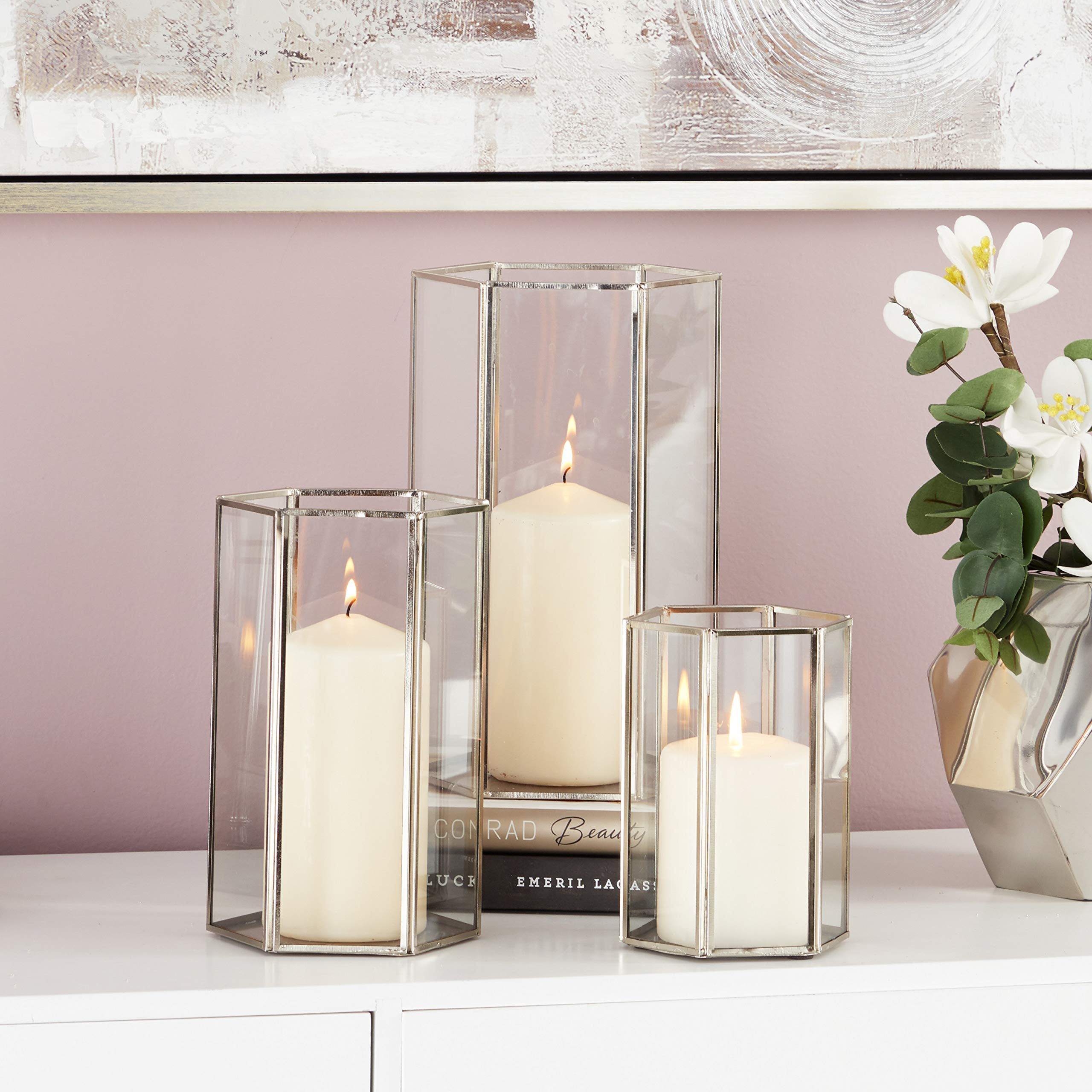 CosmoLiving by Cosmopolitan 57379 Hexagonal-Prism Iron Candle Holders (Set of 3), 6'' x 8'' x 10'', Silver/Clear