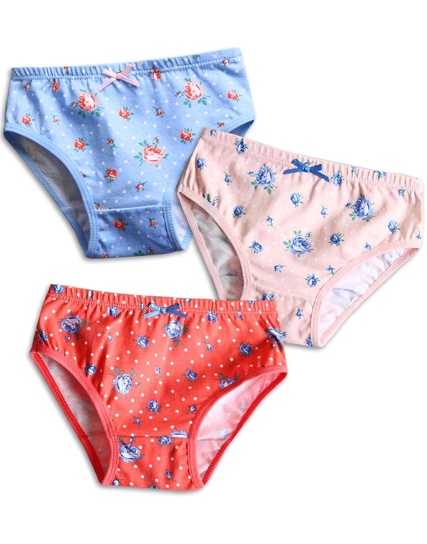 Vaenait baby 2-7 Years Kids Girls Underwear Briefs 3-Pack Set Flower Garden GB_025