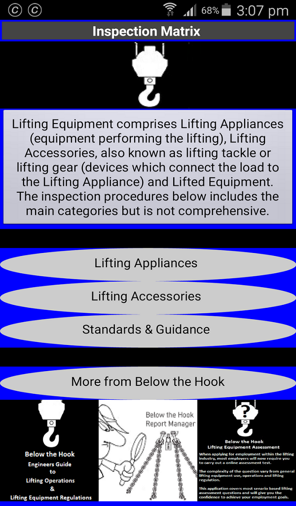 Amazon com: Lifting Equipment Inspection Matrix: Appstore for Android