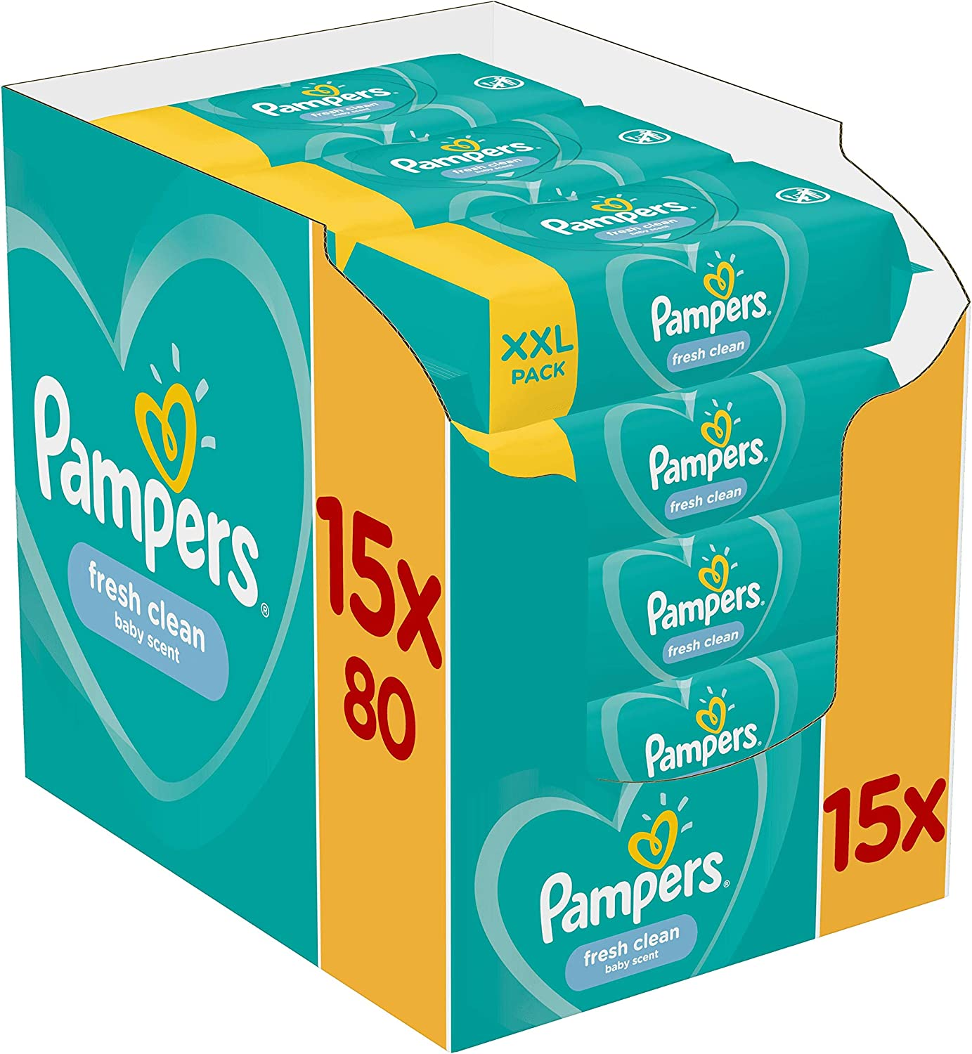 Pampers Fresh Clean Baby Wipes 15×80 = 1200 Wipes 32% OFF £15 @ Amazon