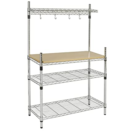 Amazon.com: Best Choice Products Kitchen Storage Bakers Rack w/ Top ...