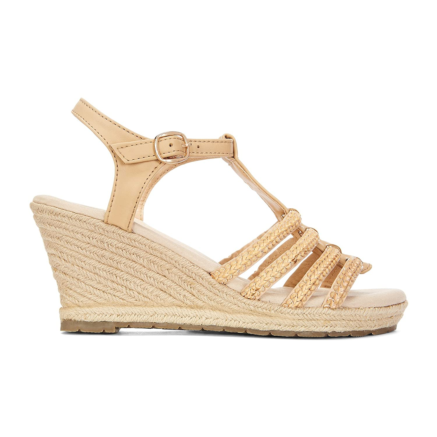 76461abf4bb Yellow Shoes GATO Womens Wedge Fashion Sandals - Casual   Comfortable -  Woven Made from Manmade