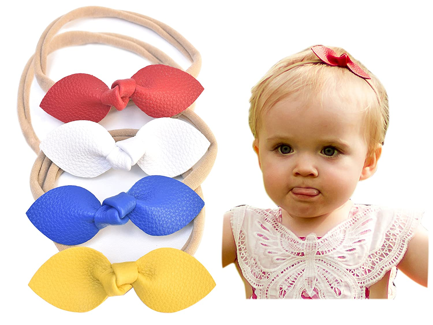 California Tot Rabbit Ears Faux Leather Bow-Stretch Headbands for Baby Toddler Girls, Set of 4