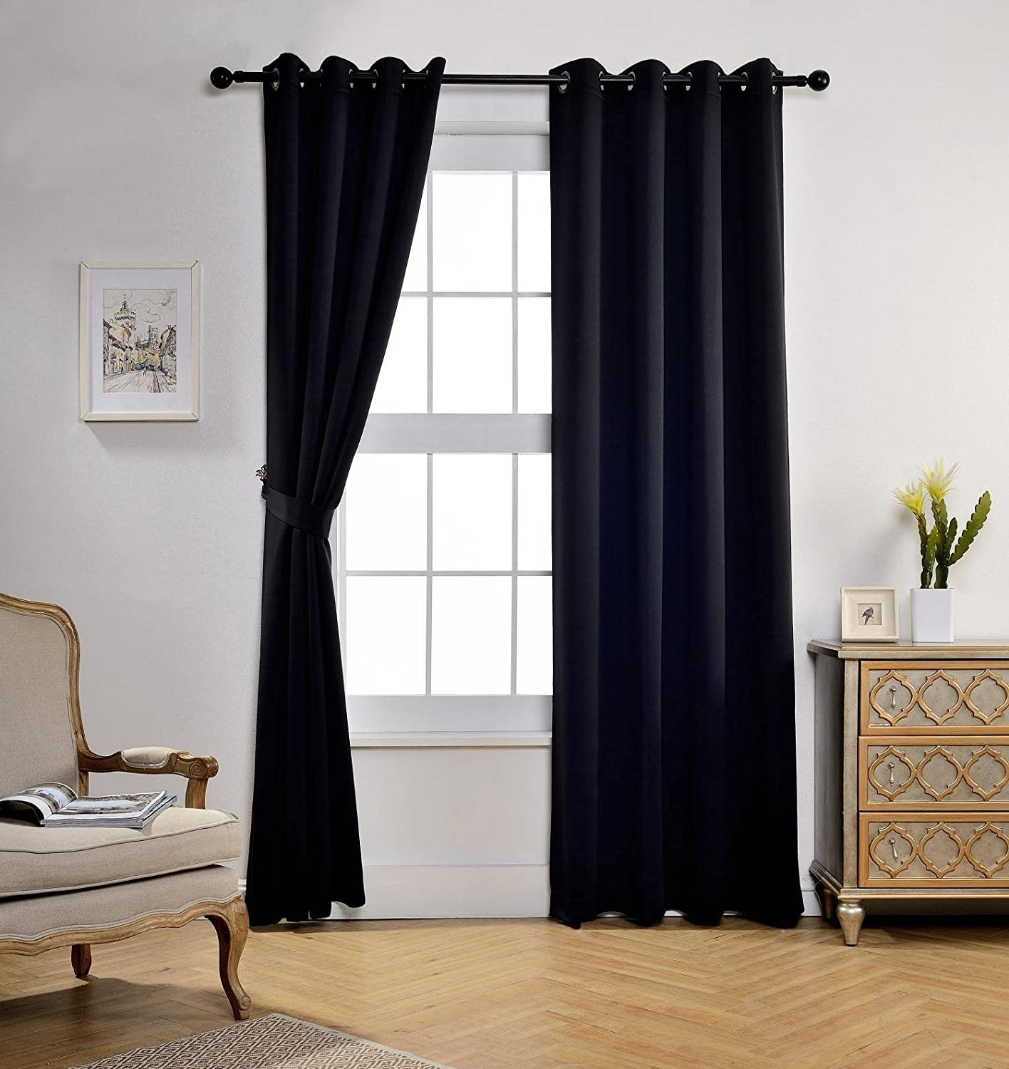 Bonus 2 Tie Backs Included Miuco Room Darkening Grommet Thermal Insulated Blackout Window Curtains Panels for Gilrs Room Window 1 Pair 52x63 Inch Black