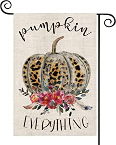 AVOIN Pumpkin Everything Leopard Pumpkin Garden Flag Vertical Double Sized, Fall Thanksgiving Harvest Yard Outdoor Decoration 12.5 x 18 Inch