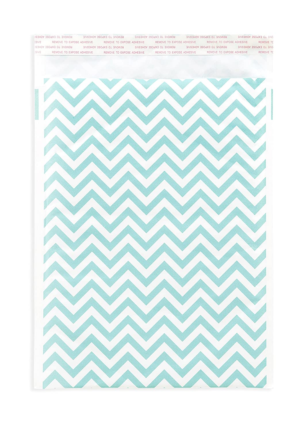 chic 25 Kraft Printed Bubble Mailers Blue Chevron 9x12 Colored Padded Shipping Envelopes Poly by Inspired Mailers