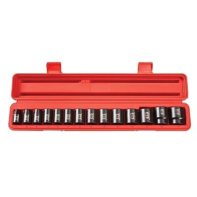TEKTON 1/2-Inch Drive Shallow Impact Socket Set, Metric, Cr-V, 6-Point, 11 mm - 32 mm, 14-Sockets | 4817: Home Improvement