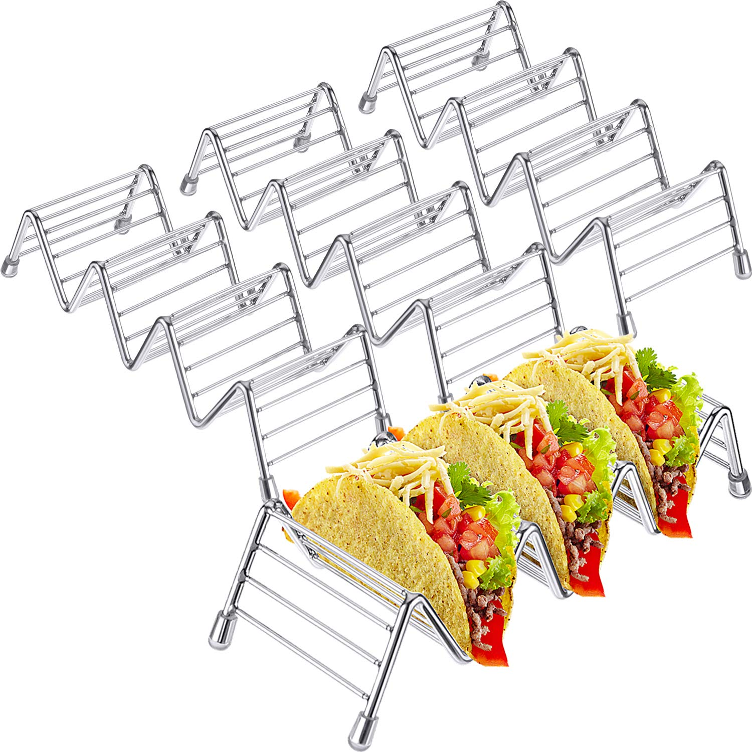 Pangda 4 Pack Stainless Steel Taco Holders Stand Taco Rack W Space for Hard or Soft Shell Tacos (Large)