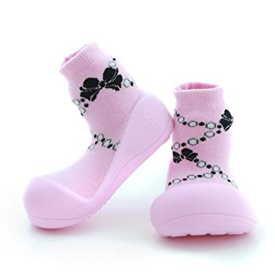 90e2281527400 Attipas First Walking Shoes with Socks for Baby Boys Girls (Medium, French  Pearl Pink)