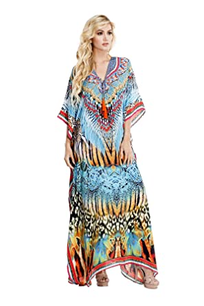cdae8cea5c Image Unavailable. Image not available for. Color: La Moda Clothing Animal  Print Maxi Kaftans with Embellished ...