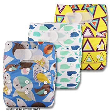 Littles /& Bloomz Patterns 324 with 3 Bamboo Charcoal Inserts Reusable Pocket Cloth Nappy Set of 3 Fastener: Hook-Loop