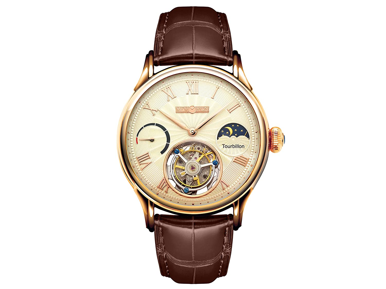 Men's MO0921 Everlasting Series Champagne Tourbillon Watch, Watch Part, Modern Design, Leather Watch