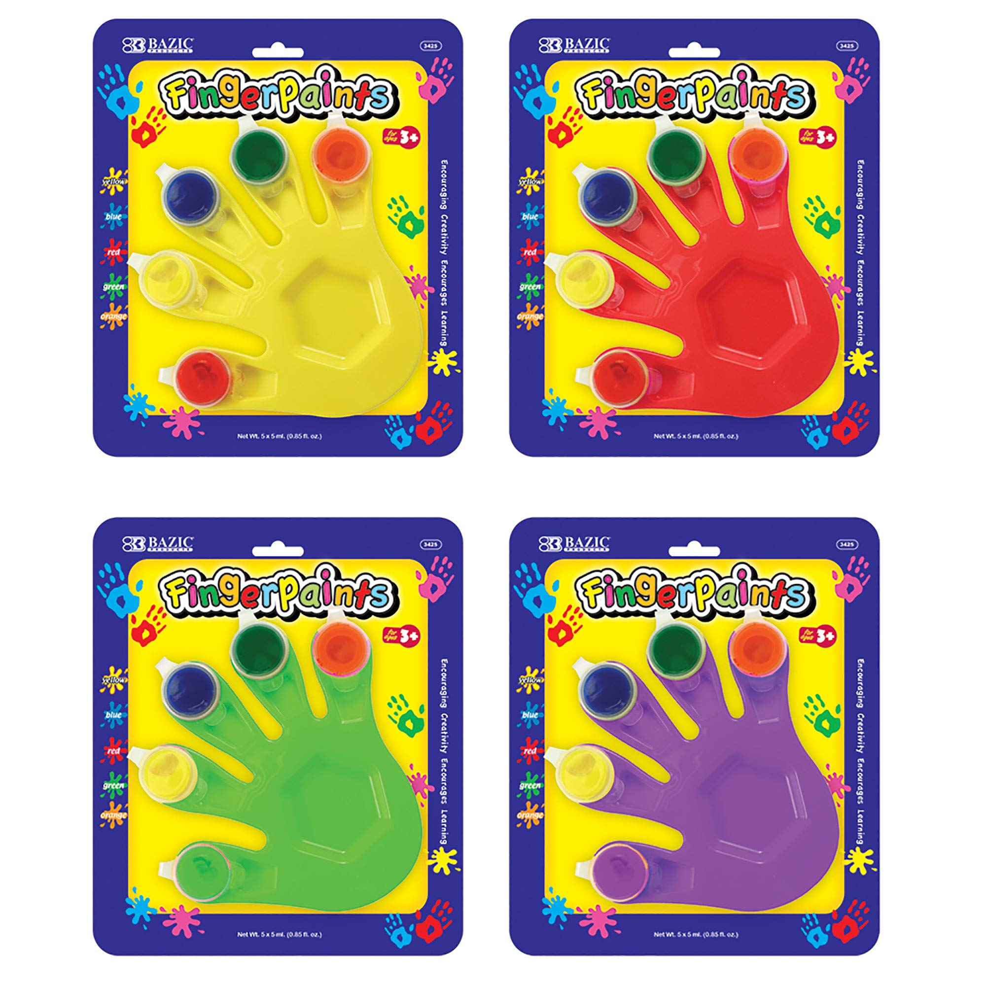 BAZIC 5 Colors 5 ml. Finger Paint w/Hand Shaped Mixing Tray (Case of 24) by B BAZIC PRODUCTS
