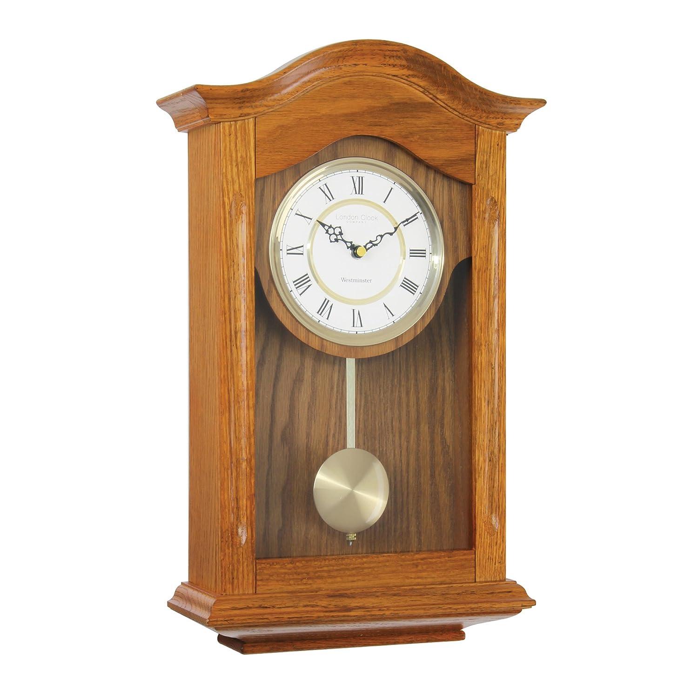 London Clock 25054 - Orologio a pendolo da parete, finitura in noce ...