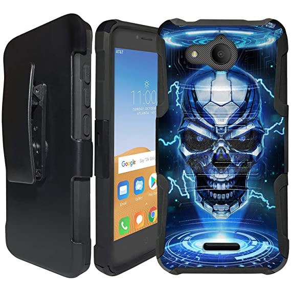CasesonDeck Case for Alcatel Tetra (AT&T/Cricket) - Clip Combo Case, Dual  Layer, Built in Kickstand and Holster (Blue Future Skull)