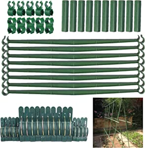 summer flower Tomato Cage Connector Accessories, 24 Stake Arms, 10 Connectors, 20 Plant Support Clips, 10 Stake Buckles for 11mm Diameter Garden Plant Stakes for Vine Cucumber Tomato Without Stakes