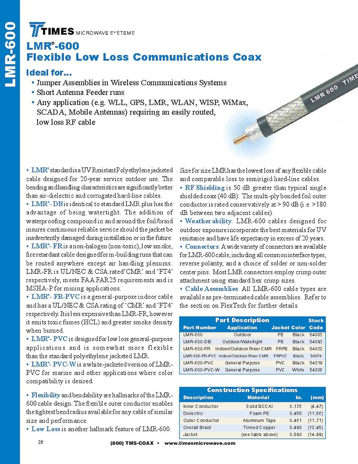 Veces microondas lmr-600 Ultra línea de transmisión de baja ...