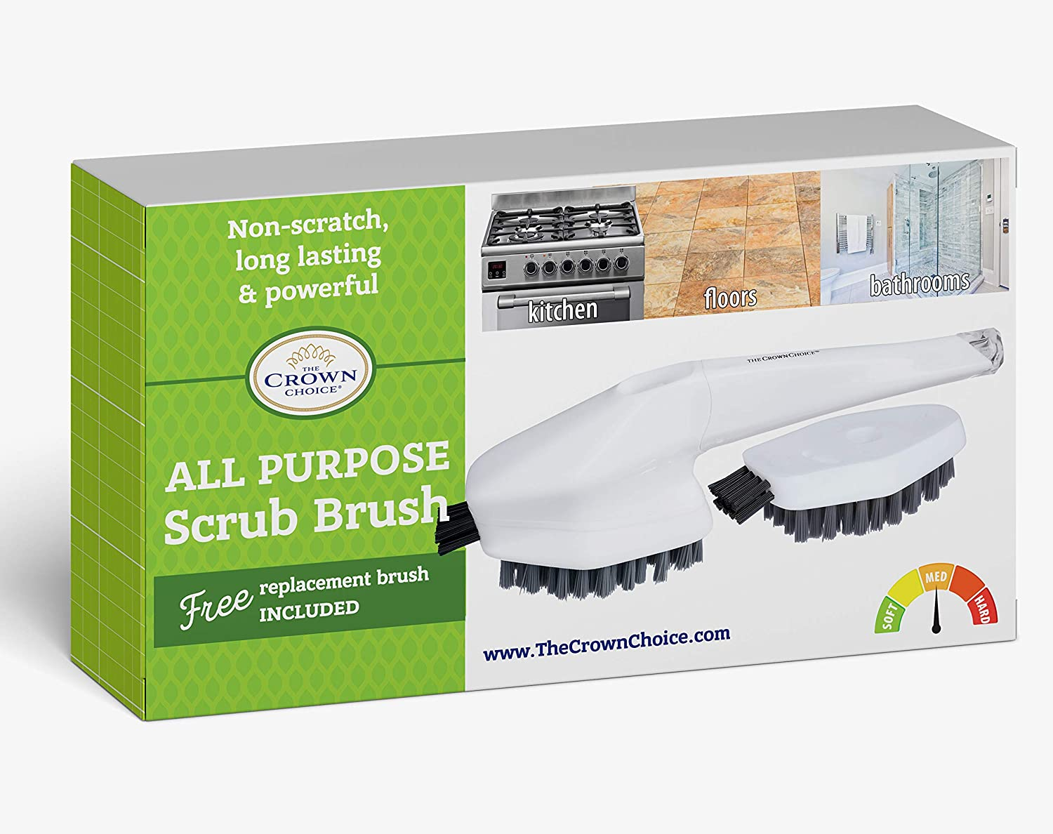 All Purpose Scrub Brush with Free Cleaning Head | Non-Scratch Scrubbing Brushes Set | Bathroom, Tiles, Kitchen, Carpet Scrubber. Wide comfort handle.