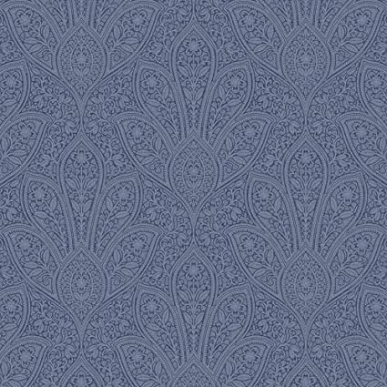 Norwall Fh37546 Distressed Paisley Prepasted Wallpaper Navy