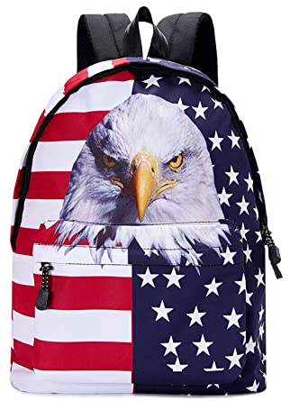 619d97cbb5 Kids Cool School Bags Red White Navy Blue American Flag White Yellow Eagle  Stars and Stripes