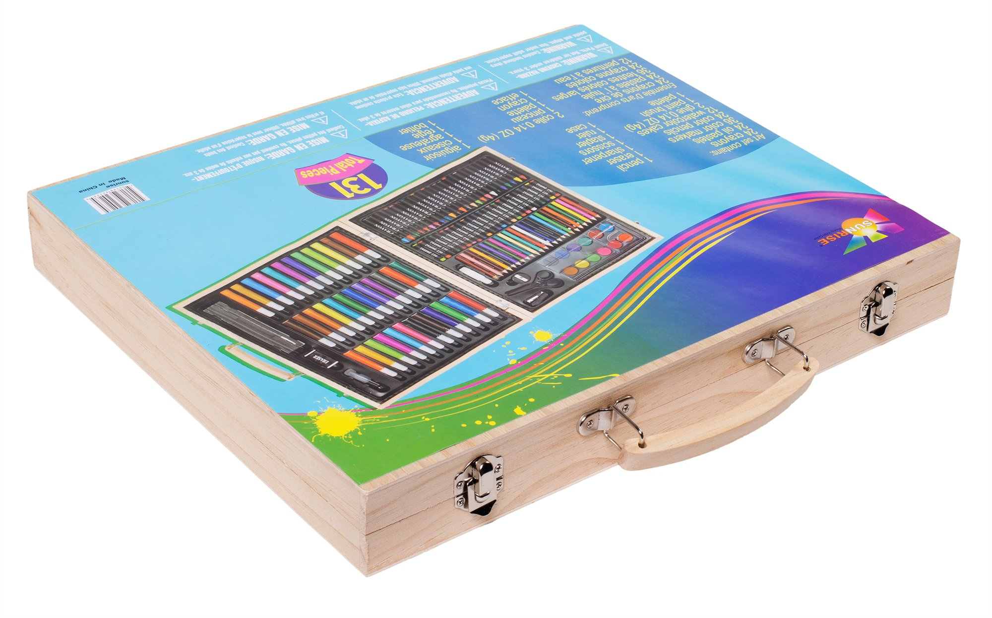Sunrise Portable Art Set. 131-Piece With Wood Case