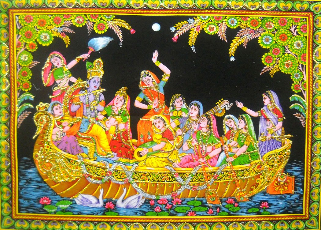Radha Krishna with Gopis on Boat Batik Painting Wall Tapestry : 30''x40'' Inches