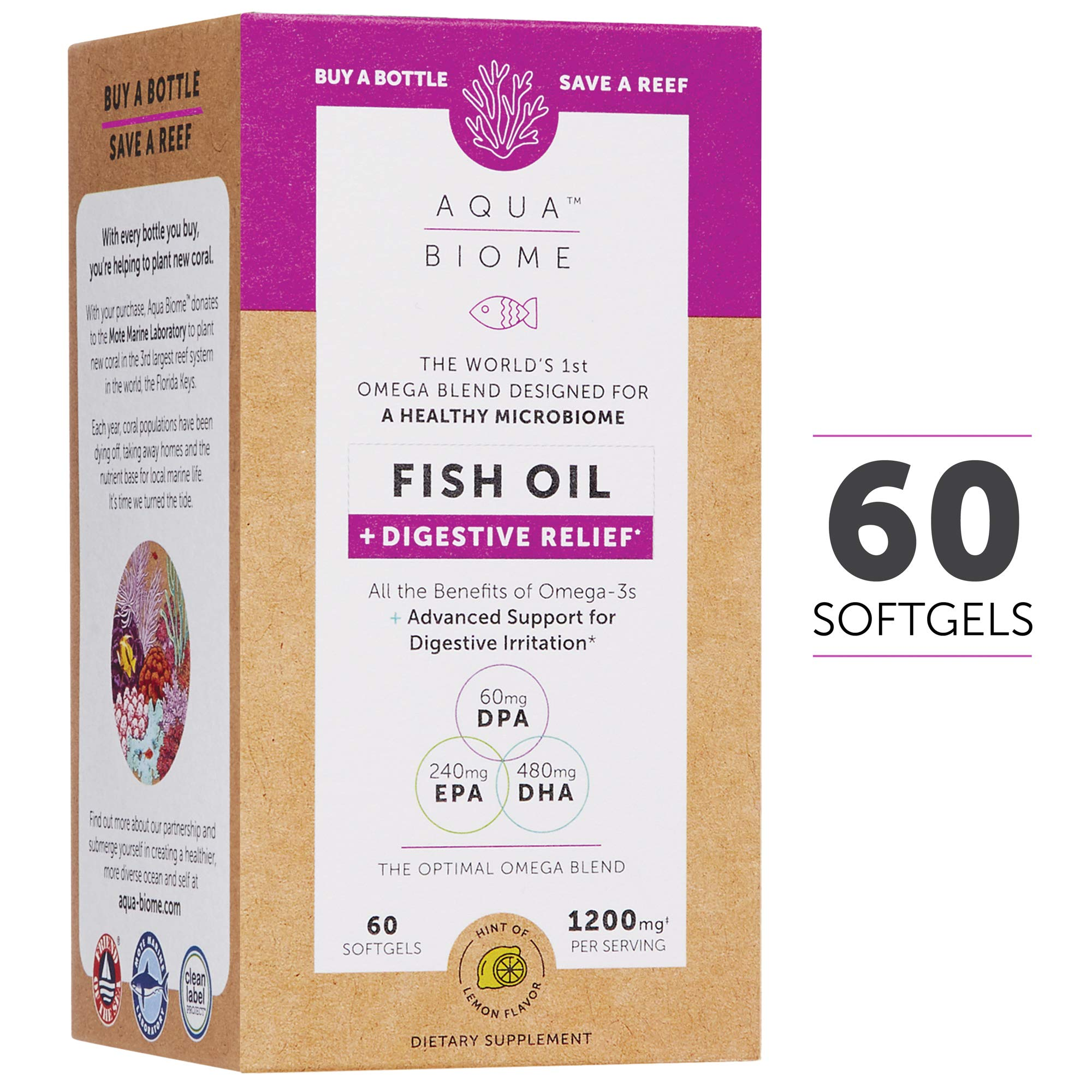 Aqua Biome by Enzymedica, Fish Oil + Digestive Relief, Complete Omega 3 Supplement, Gluten Free and Non-GMO, 60 softgels (30 servings) by Enzymedica