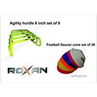 Roxan Combo Agility Speed Hurdle 6 inch Set of 6 / Track & Field Training Speed Agility Hurdle/Football Saucer Cone Small Size Set of 30 with 5 Multi-Color