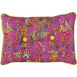Yuga Cotton Filled Floral Print Kantha Stitch Pink Pillow Sham Decorative Cushion - Size Available