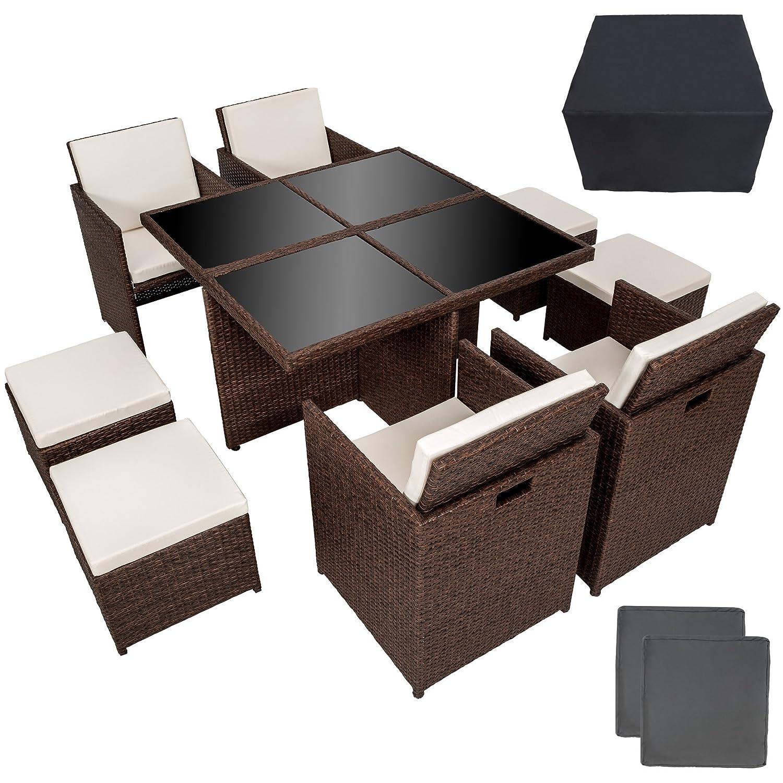 TecTake Poly Rattan Aluminium 4+1+4 Sitzgruppe Cube 4 Stühle 1 Tisch 4 Hocker + Schutzhülle & Edelstahlschrauben antik braun
