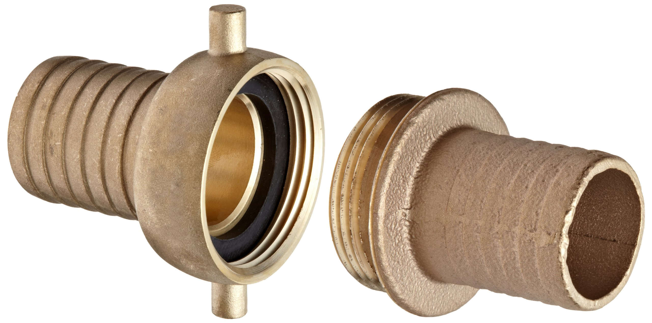 Dixon BS63N Brass Hose Fitting, Complete King Short Suction Coupling Set with Brass Nut, 1-1/2'' NST x 1-1/2'' Hose ID Barbed