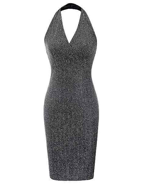 7ae493671d Kate Kasin Women's Sleeveless Dress Sexy V Neck Mini Party Club Bodycon  Dresses Black, ...