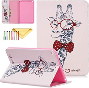 "Cookk iPad Mini 5 Case Kids 2019 Latest Model A2133 / A2124 / A2126, Slim Flip Stand Skinshell with Card Slots Lightweight Protective Cases and Covers for Apple iPad Mini 5 7.9"" 2019, Griaffe"