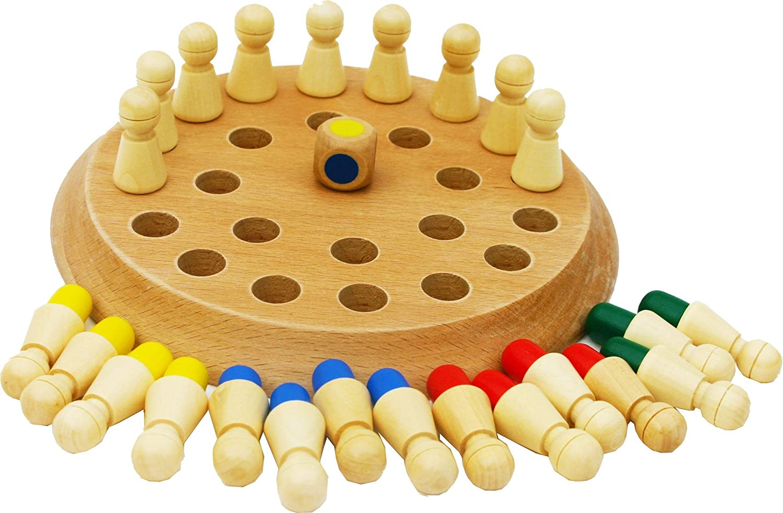 TOWO Juego de Memoria de Madera con 24 Piezas y un Dado de Madera - Tablero de Juegos de Mesa para Niños y Adultos - Juego Familiar de Parejas Educativo de Concentración