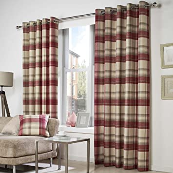Belvedere Classic Tartan Check Woven Eyelet Curtains, Red - 66 ...