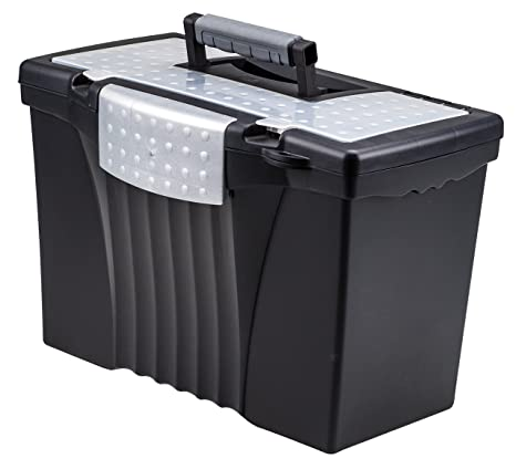 Storex Portable File Box With Organizer Lid 17 13 X 9 63 X 11 Inches Letter Legal Black 61510u01c