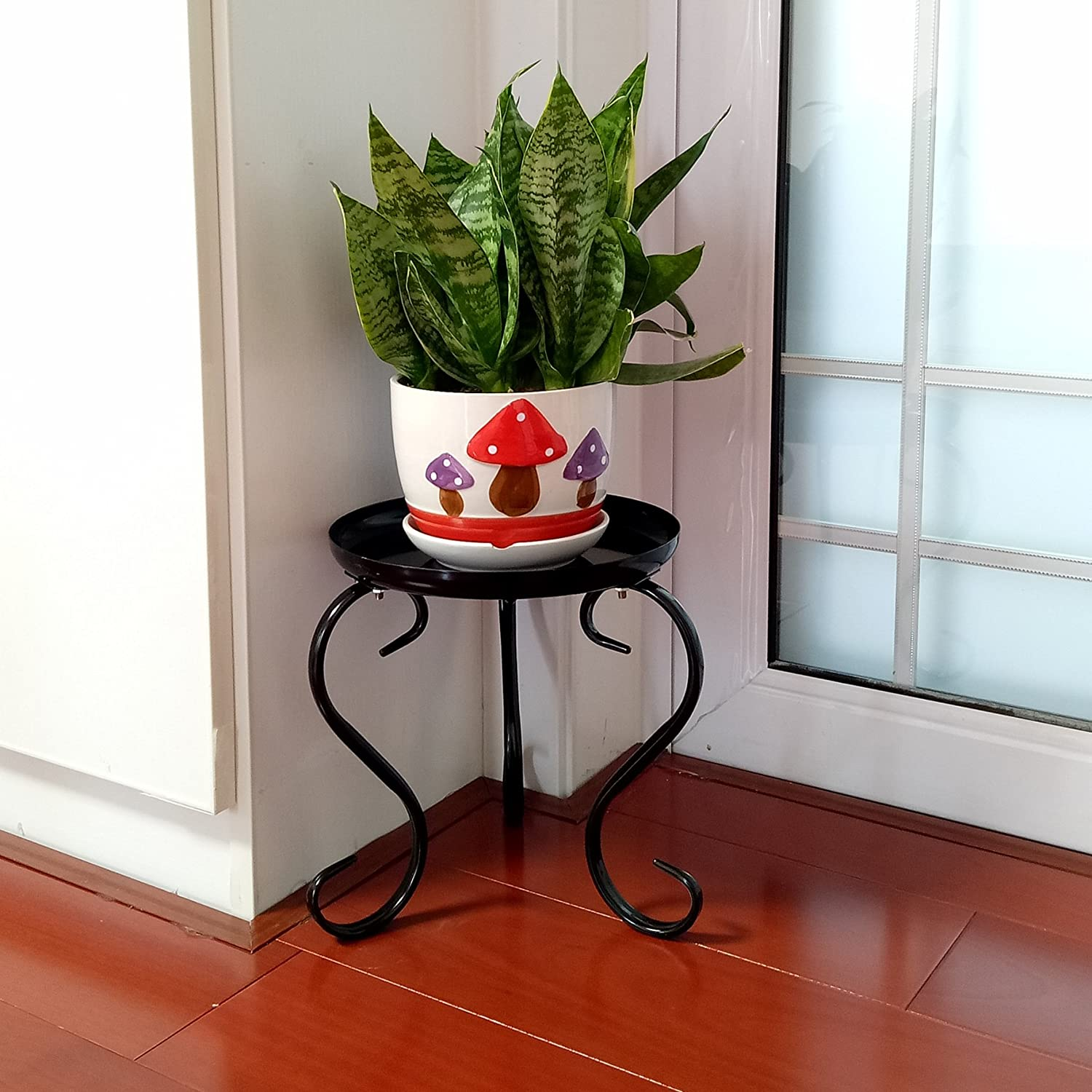 Metal Small Plant Stand Indoor Floor Flower Pot Holder Rack//Round Iron Potted Plant Stands Pack of 2