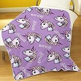 emoji Unicorn Fleece Blanket, Polyester, Lilac, Full