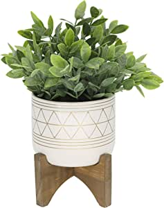 Flora Bunda Artificial Eucalyptus in 4.75 in Gold Line Ceramic Pot on Wood Stand