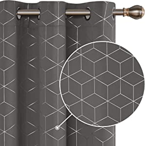 Deconovo Silver Diamond Foil Print Blackout Curtains Room Darkening Thermal Insulated Curtain Panels Grommet for Living Room Light Grey 42W x 95L Inch 2 Panels