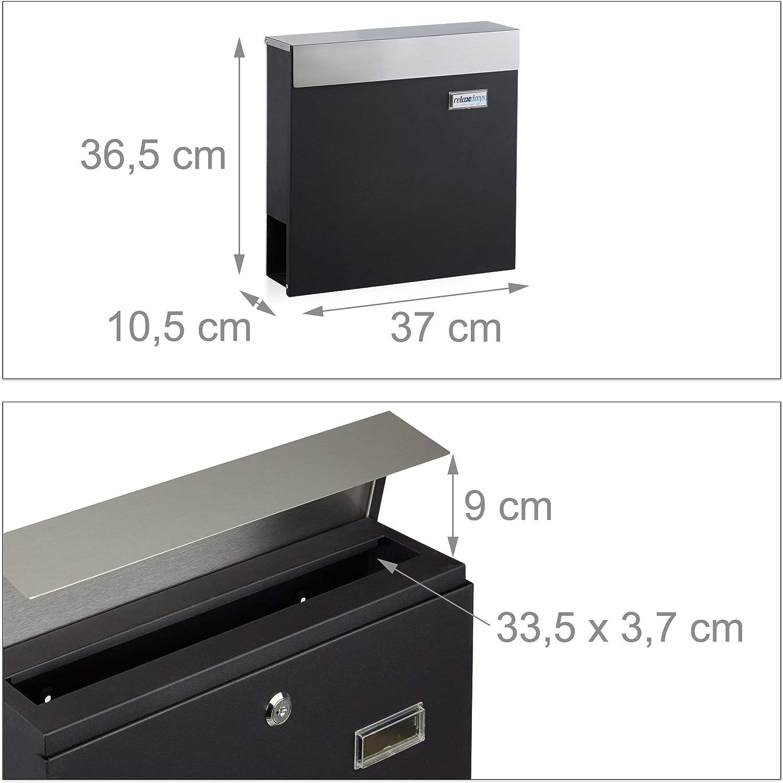 HxBxT: 36,5 x 37 x 10,5 cm Modern Design Edelstahl Relaxdays Briefkasten mit Zeitungsfach und Namensschild Schwarz