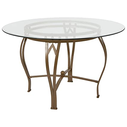 gold glass dining table pedestal flash furniture syracuse 48 round glass dining table with matte gold metal frame amazoncom