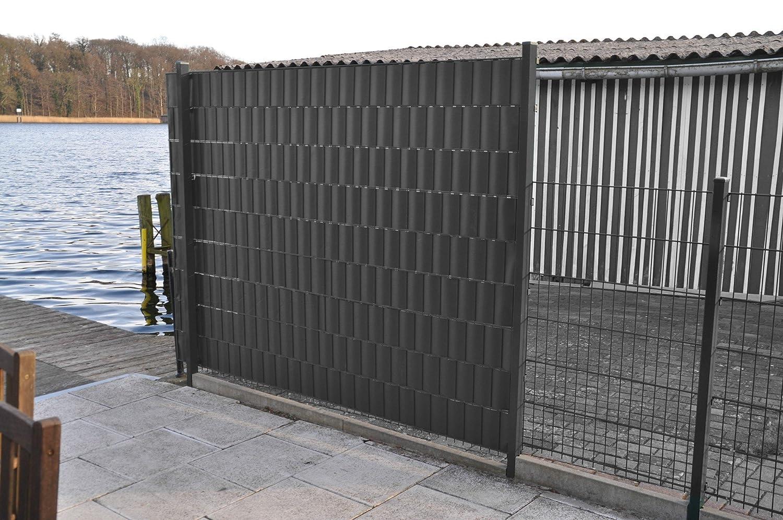 7m² PVC Sichtschutz grau Windschutz Zaunblende Lärmschutz