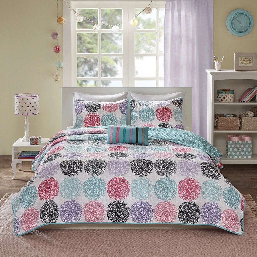 Mi-Zone Carly Full/Queen Girls Quilt Bedding Set - Teal, Purple, Doodled Circles Polka Dots – 4 Piece Teen Girl Bedding Quilt Coverlets – Ultra Soft Microfiber Bed Quilts Quilted Coverlet