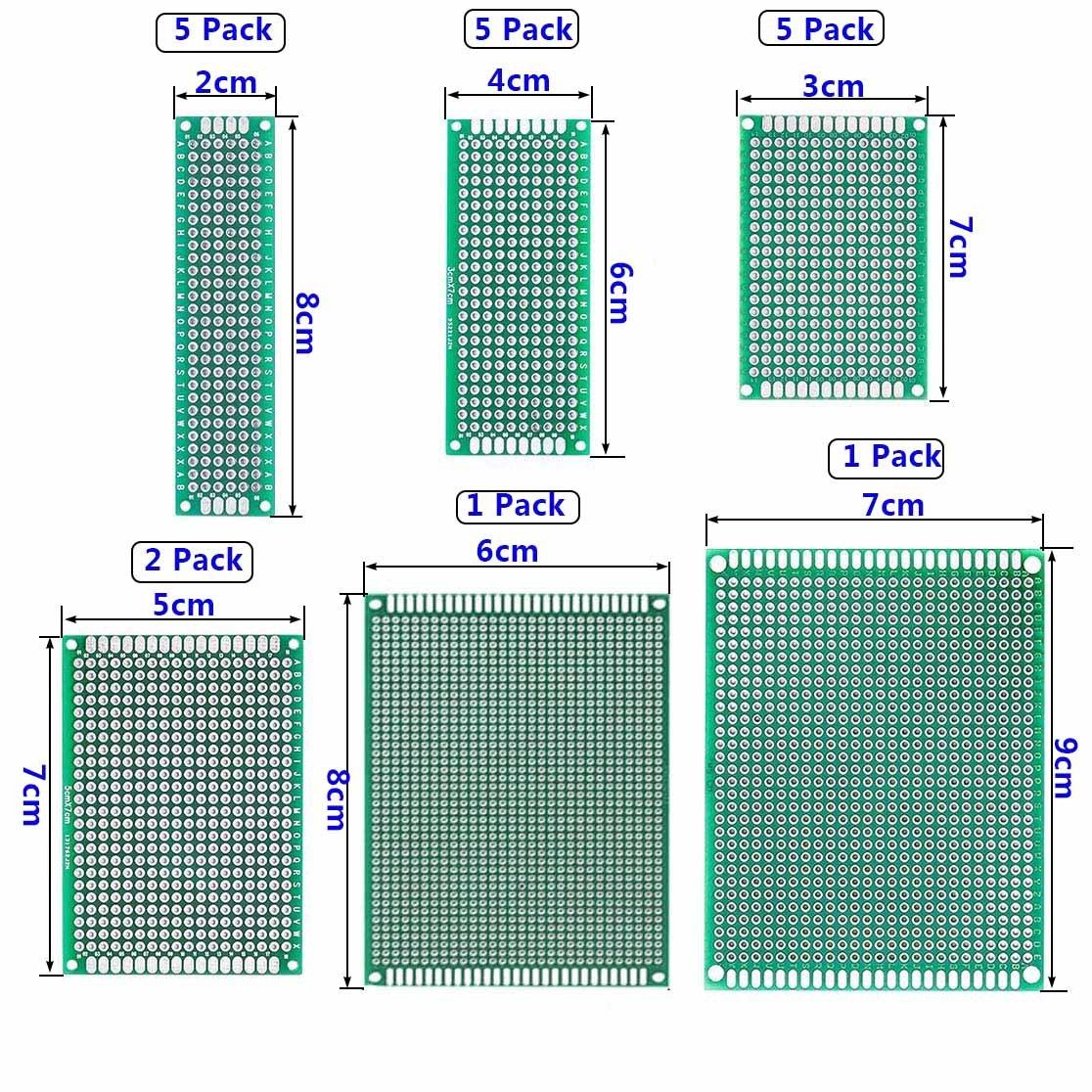Eiito 19 Pcs Diy Prototype Paper Pcb Universal Experiment Matrix 7cm Circuit Board Double Side Printed Size 6