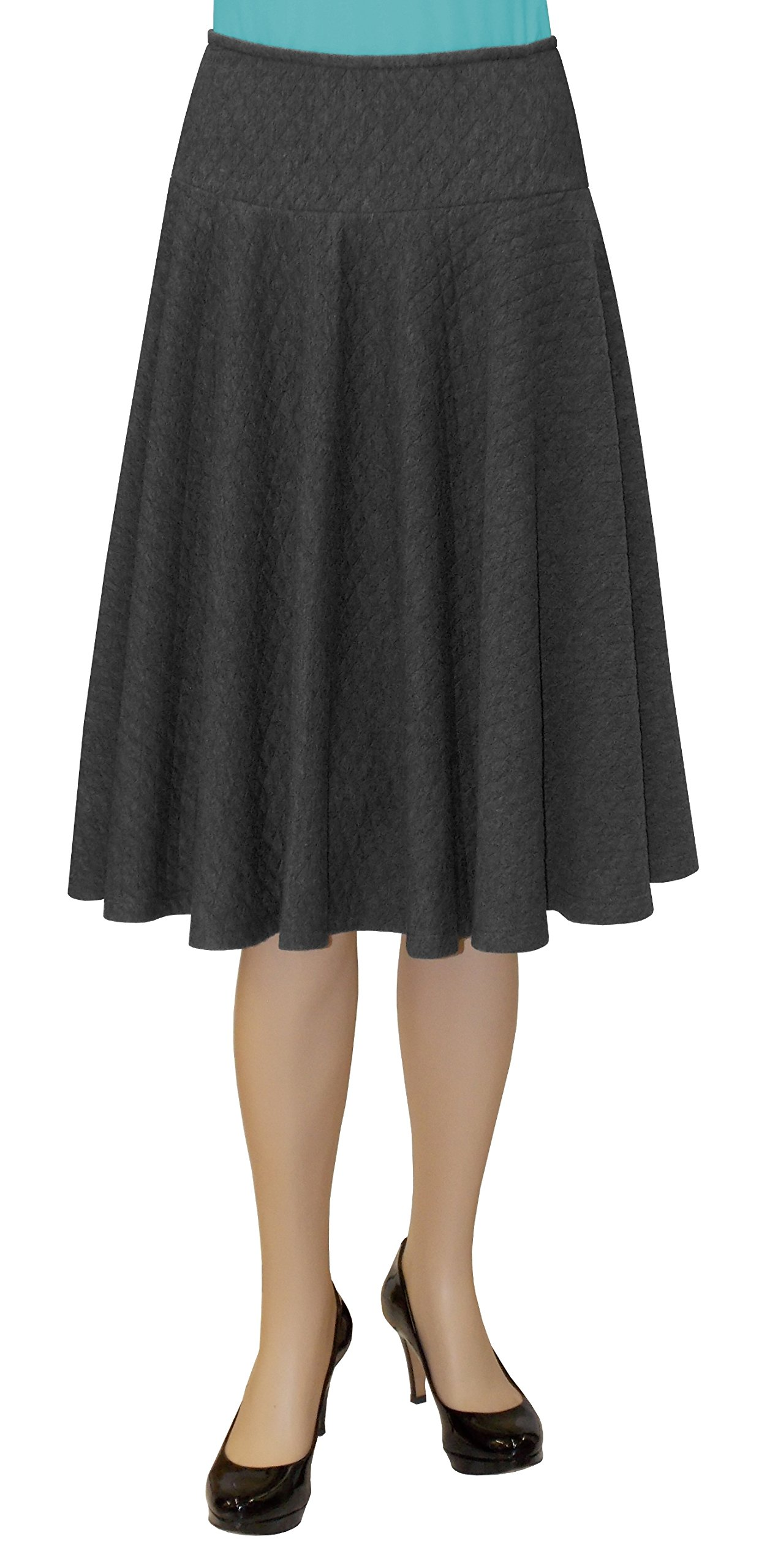 Baby'O Women's Below the Knee Midi Length Fit and Flare Diamond Pattern Quilted Knit Cirlce Skater Skirt - GRY - L