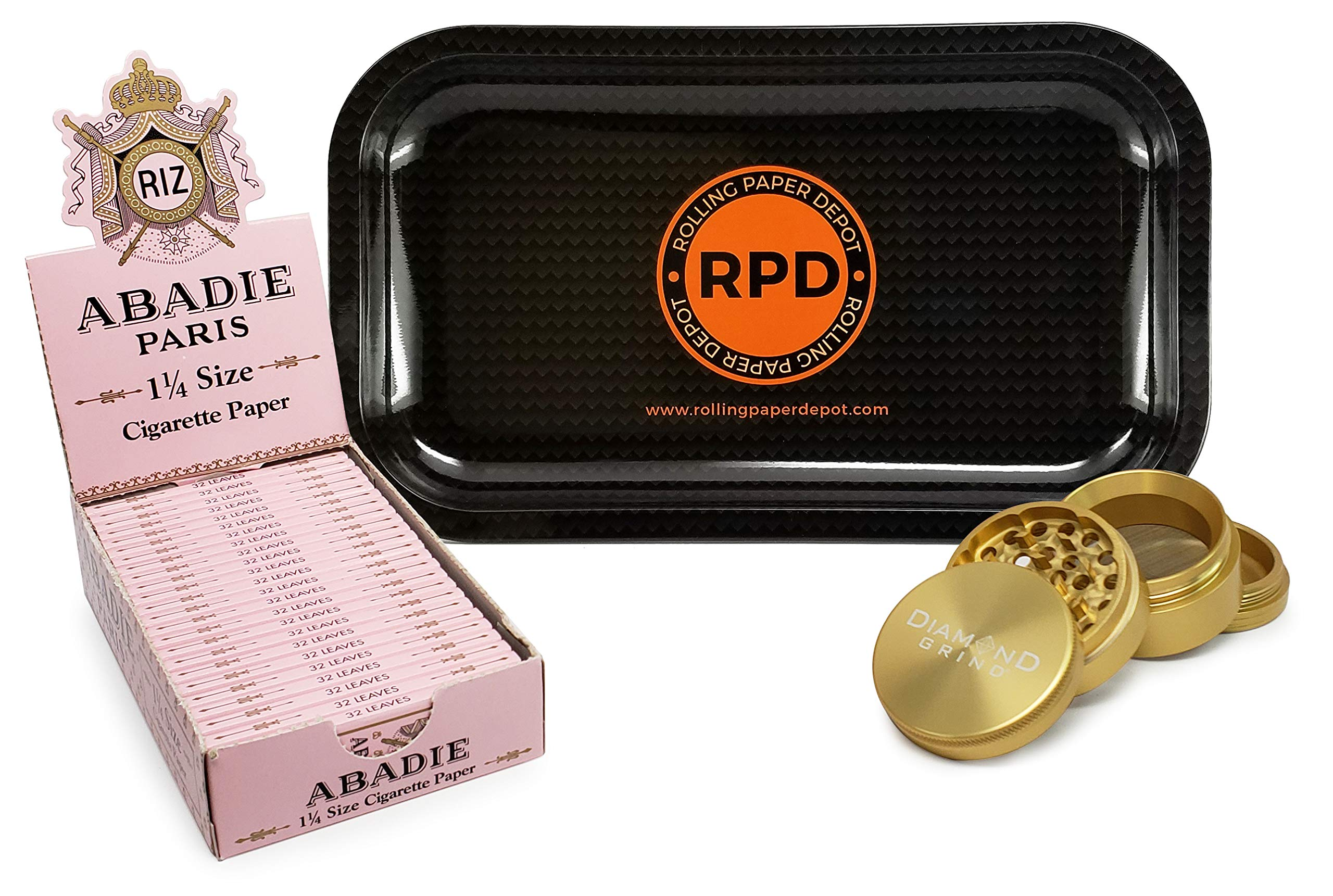 Abadie Rolling Papers 1 1/4 (Full Box) with Diamond Grind 56mm Grinder and Rolling Paper Depot Rolling Tray